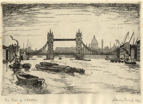 Sidney Ferris, The Pool of London, Tower Bridge - Original 1952 etching print