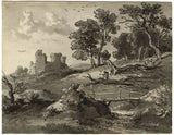 Ramsay Richard Reinagle RA, Woodcutters by Castle Ruin - Chalk & wash drawing
