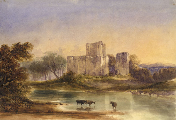 Castle Ruin with Cattle Drinking -Original mid-19th-century watercolour painting