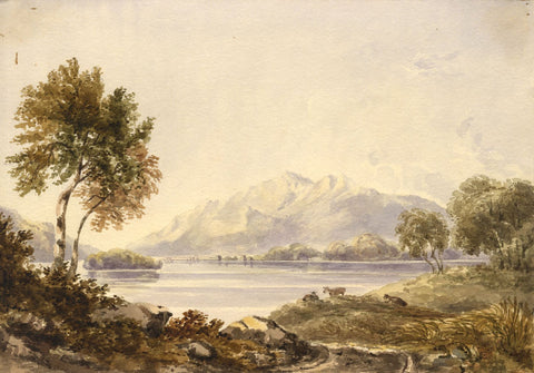 View across Derwent Water, Lake District - Mid-19th-century watercolour painting