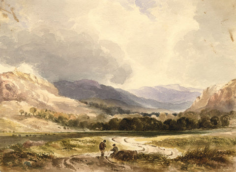 Resting Figures, Glen Lochay, Perthshire - Mid-19th-century watercolour painting