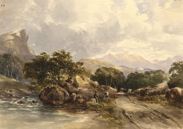 Riverside Track in Mountain Landscape - Mid-19th-century watercolour painting