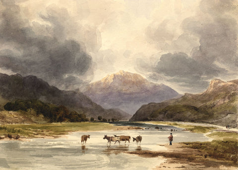 Moel Hebog from River Glaslyn, Snowdonia Wales 19th-century watercolour painting