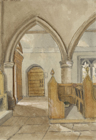 Church Tomb with Double Effigy - Original mid-19th-century watercolour painting
