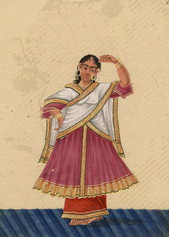 Company School 19th-century Indian Mica Painting in Gouache Dancing Girl in Sari