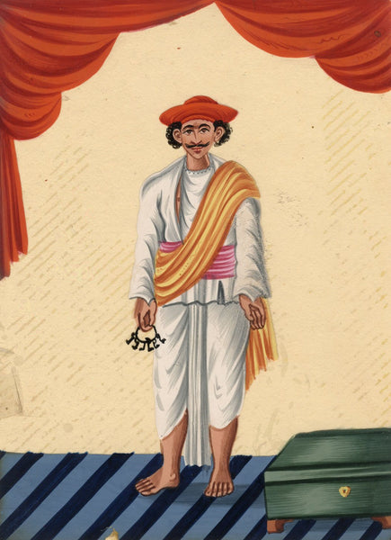 Company School 19th-century Indian Mica Painting in Gouache - Servant with Keys