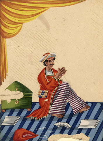 Company School 19th-century Indian Mica Painting in Gouache - Darzi Tailor