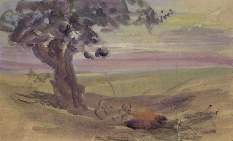 Elsie March RBA, Symbolist Landscape with Tree - 1920s Art Nouveau watercolour