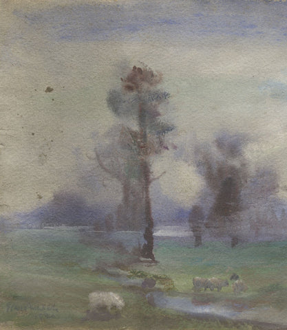 Elsie March RBA, Symbolist Grazing Sheep in Mist - 1926 Art Nouveau watercolour