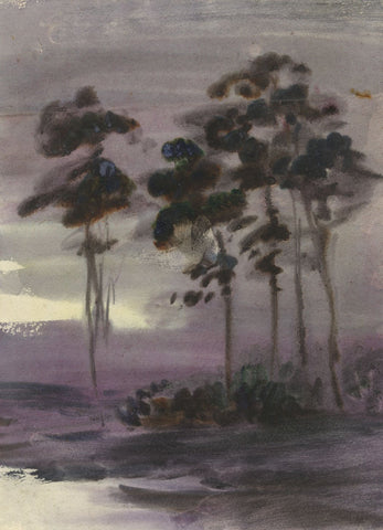 Elsie March RBA, Symbolist Copse of Trees - 1920s Art Nouveau watercolour