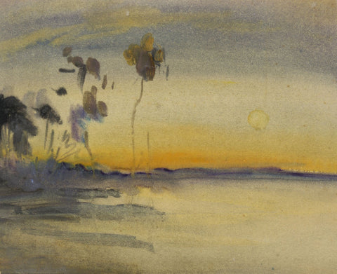 Elsie March RBA, Symbolist Lake Sunset - 1920s Art Nouveau watercolour painting