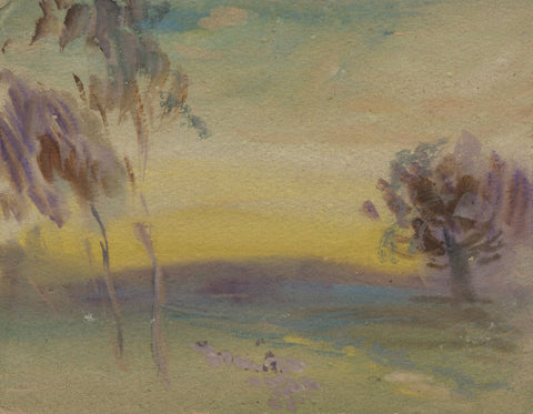Elsie March RBA, Symbolist Landscape at Sunset - 1920s Art Nouveau watercolour