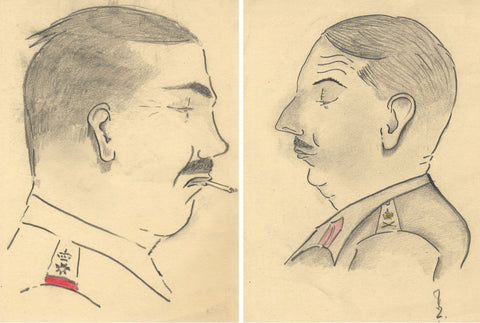 Robert Lyon FRSA, Pair of WWII Military Caricatures - 1940s graphite drawings