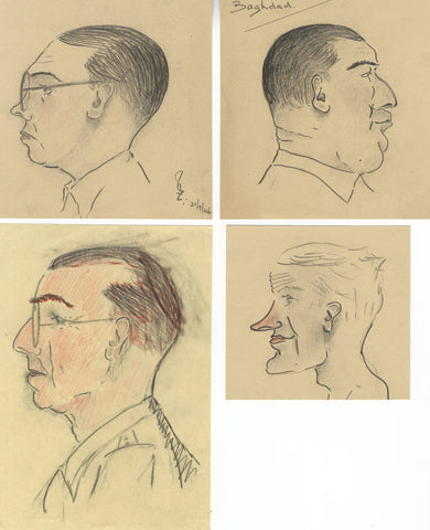 Robert Lyon FRSA, Set of Four Portrait Caricatures WWII Baghdad - 1946 drawings
