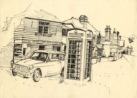 James Arnold Martin, High Street, Brasted, Kent - Original 1960s pen & ink drawing