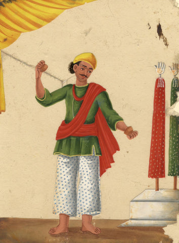 Company School 19th-century Indian Mica Painting in Gouache - Muharram Figure