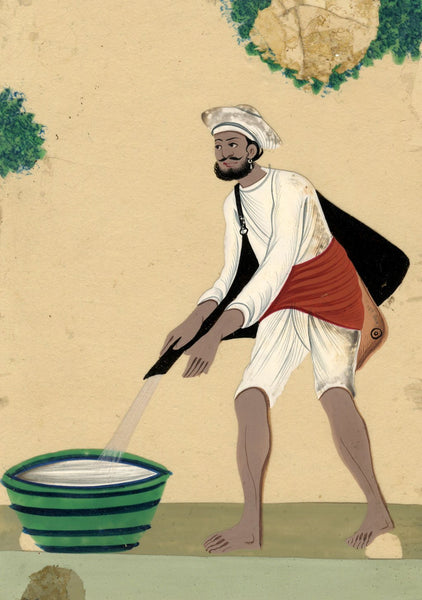 Company School 19th-century Indian Mica Painting in Gouache - Water-carrier