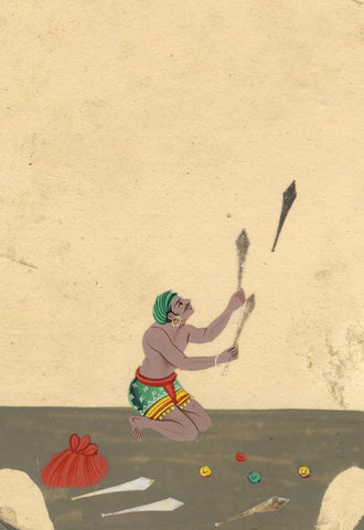 Company School 19th-century Indian Mica Painting in Gouache - Juggler Performer