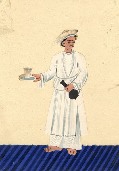 Company School 19th-century Indian Mica Painting in Gouache - Abdar with Glass