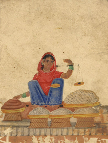 Company School 19th-century Indian Mica Painting in Gouache - Confectioner