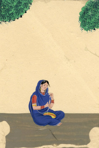 Company School 19th-century Indian Mica Painting in Gouache - Moochee Shoemaker