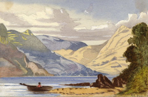 Agnes Robinson, Mountain Lake with Row Boat - Original 1875 watercolour painting