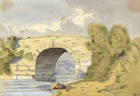 Ethel Robinson, Stone Bridge Study - Original 1875 watercolour painting