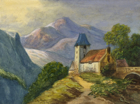 Gertrude Robinson, Alpine Church - Original c.1875 watercolour painting