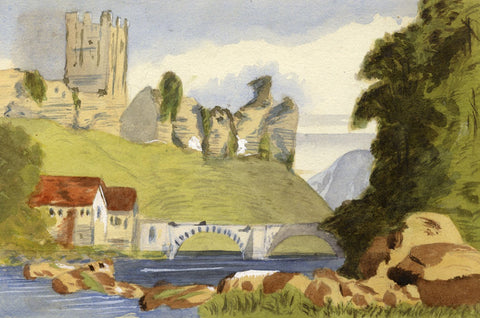 Ethel Robinson, Castle Ruin by Stone Bridge - Original 1875 watercolour painting
