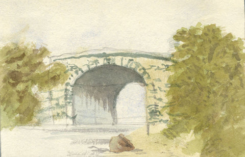 Beatrice Robinson, Stone Bridge Study - Original 1879 watercolour painting
