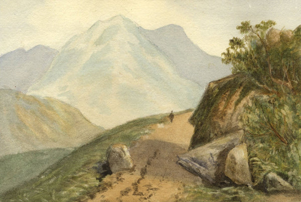Gertrude Robinson, Figure on Mountain Pass - Original 1879 watercolour painting