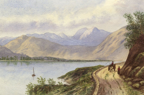 Mildred Robinson, Mountain Lake with Horse & Cart - 1879 watercolour painting