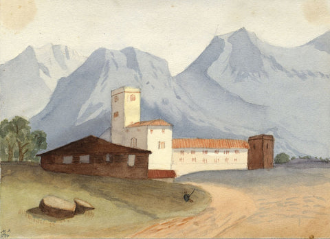 Mildred Robinson, Continental Monastery in Mountains - 1875 watercolour painting