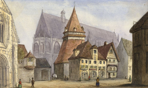 Agnes Robinson, Medieval Old Town Cathedral, France - 1878 watercolour painting