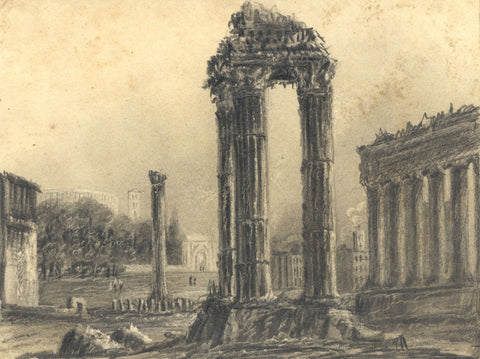 Alfred Swaine Taylor, Roman Forum, Rome - Original 1829 graphite drawing