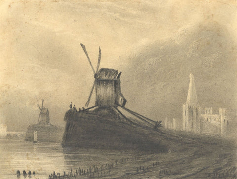 Alfred Swaine Taylor, Windmills on the Rhine - Original 1829 graphite drawing