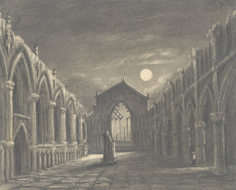 Alfred Swaine Taylor, Holyrood Chapel by Moonlight - c.1829 graphite drawing