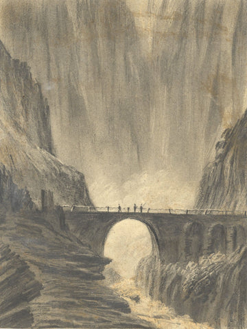 Alfred Swaine Taylor, The Devil's Bridge St Gotthard Pass -1829 graphite drawing
