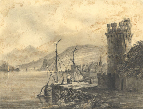 Alfred Swaine Taylor, Eagle Tower, Rudesheim, Germany - 1829 graphite drawing