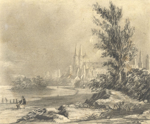 Alfred Swaine Taylor, City of Speyer, Rhine, Germany - 1829 graphite drawing