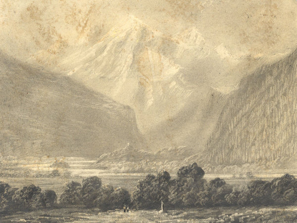 Alfred Swaine Taylor, Mont Blanc from near Servoz, France -1829 graphite drawing