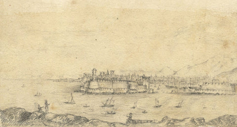 Alfred Swaine Taylor, Port of Marseille, France - Original 1828 graphite drawing