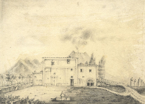 Alfred Swaine Taylor, Hermitage of Mount Vesuvius near Naples - 1829 drawing