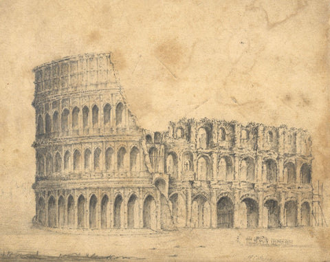 Alfred Swaine Taylor, Colosseum, Rome, Italy - Original 1829 graphite drawing