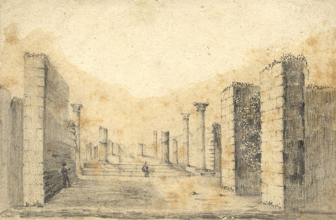 Alfred Swaine Taylor, House of Pansa, Pompeii - Original 1829 graphite drawing
