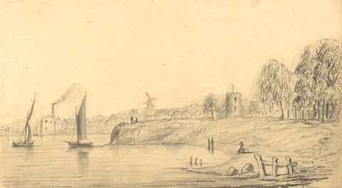 Alfred Swaine Taylor, Runcorn No Man's Land on the Mersey -1833 graphite drawing
