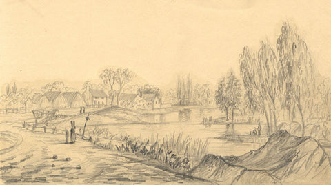 Alfred Swaine Taylor, On the Mersey near Runcorn Cheshire -1833 graphite drawing