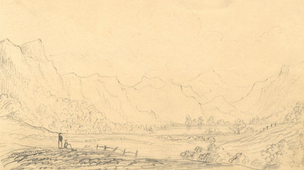 Alfred Swaine Taylor, Derwentwater, Lake District - 1833 graphite drawing