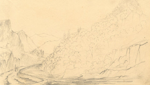 Alfred Swaine Taylor, Borrowdale Pike, Lake District - 1833 graphite drawing