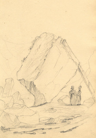 Alfred Swaine Taylor, Bowder Stone, Borrowdale, Lake District - 1833 drawing